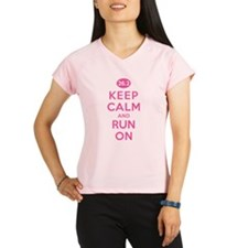 Keep Calm and Run On 26.2 Pink Performance Dry T-S
