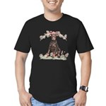 Doberman Flowers Men's Fitted T-Shirt (dark)