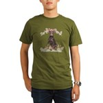 Doberman Flowers Organic Men's T-Shirt (dark)