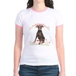 Doberman Flowers Jr. Ringer T-Shirt