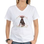 Doberman Flowers Women's V-Neck T-Shirt