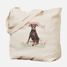 Doberman Flowers Tote Bag