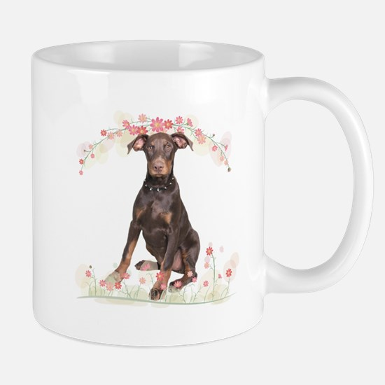 Doberman Flowers Mug