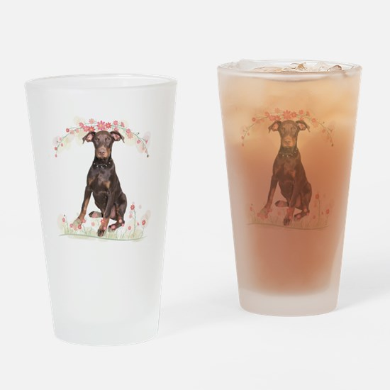 Doberman Flowers Drinking Glass