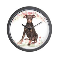 Doberman Flowers Wall Clock