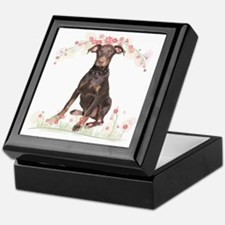 Doberman Flowers Keepsake Box