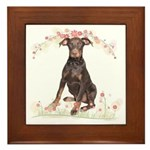 Doberman Flowers Framed Tile