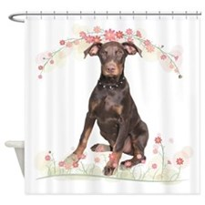 Doberman Flowers Shower Curtain