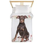 Doberman Flowers Twin Duvet