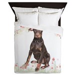 Doberman Flowers Queen Duvet