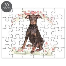 Doberman Flowers Puzzle