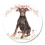 Doberman Flowers Round Car Magnet