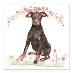 Doberman Flowers Square Car Magnet 3