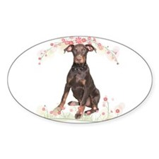Doberman Flowers Decal