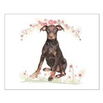 Doberman Flowers Small Poster