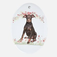 Doberman Flowers Ornament (Oval)