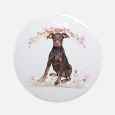 Doberman Flowers Ornament (Round)