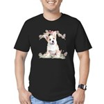 Corgi Flowers Men's Fitted T-Shirt (dark)