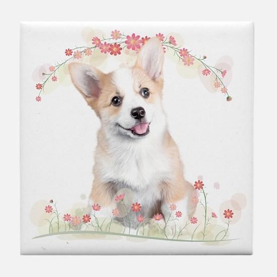 Corgi Flowers Tile Coaster