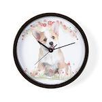Corgi Flowers Wall Clock