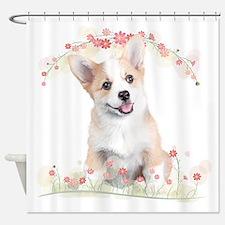 Corgi Flowers Shower Curtain