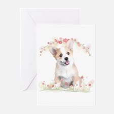 Corgi Flowers Greeting Cards (Pk of 20)