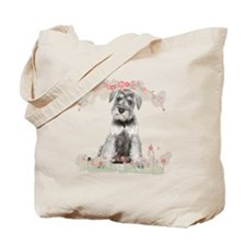 Schnauzer Flowers Tote Bag