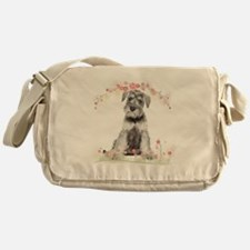 Schnauzer Flowers Messenger Bag