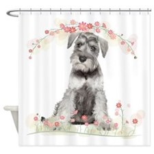 Schnauzer Flowers Shower Curtain