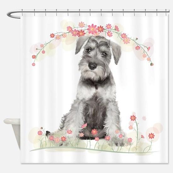 Schnauzer Flowers Shower Curtain