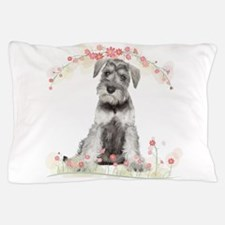 Schnauzer Flowers Pillow Case