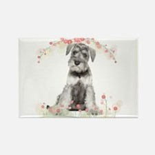 Schnauzer Flowers Rectangle Magnet