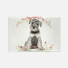 Schnauzer Flowers Rectangle Magnet (100 pack)
