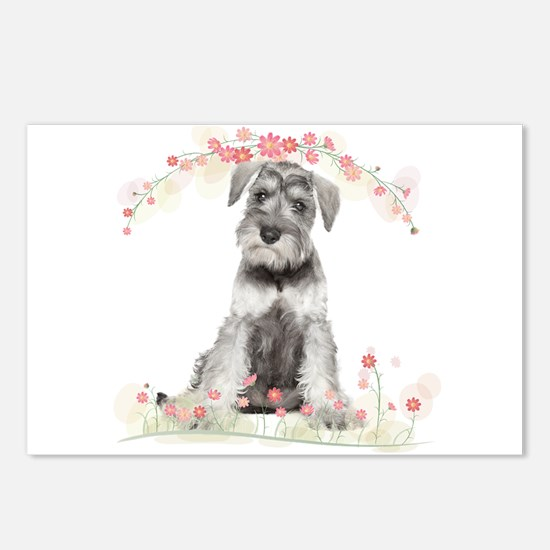 Schnauzer Flowers Postcards (Package of 8)