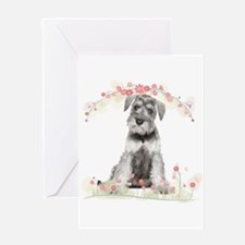 Schnauzer Flowers Greeting Card