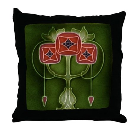 Throw Pillow with Art Nouveau pink tulips