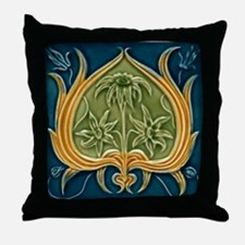 Throw Pillow with Art Nouveau floral design