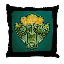 Throw Pillow with Art Nouveau Snowpea print