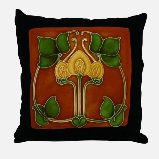 Throw Pillow with Art Nouveau flower circle