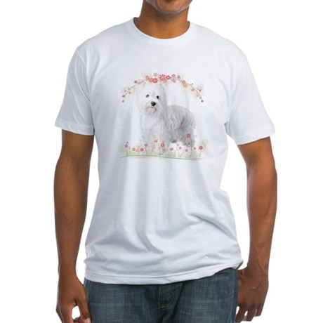Westie Flowers Fitted T-Shirt
