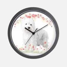 Westie Flowers Wall Clock