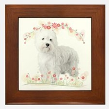 Westie Flowers Framed Tile