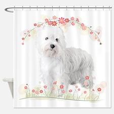 Westie Flowers Shower Curtain