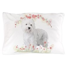 Westie Flowers Pillow Case