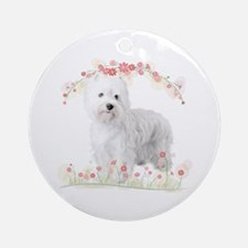 Westie Flowers Ornament (Round)