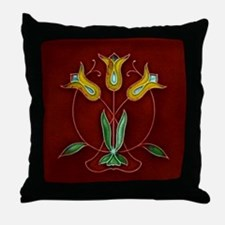 Throw Pillow with simple Art Nouveau daffodils