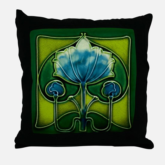 Throw Pillow with abstract Art Nouveau flower