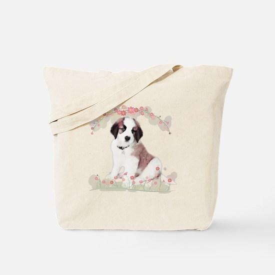 Saint Bernard Flowers Tote Bag