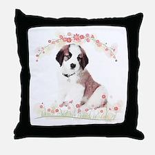 Saint Bernard Flowers Throw Pillow