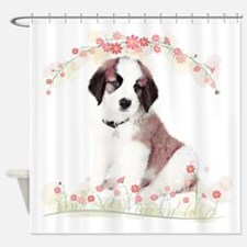 Saint Bernard Flowers Shower Curtain